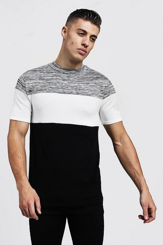 Muscle Fit Space Dye Contrast Knitted Tee