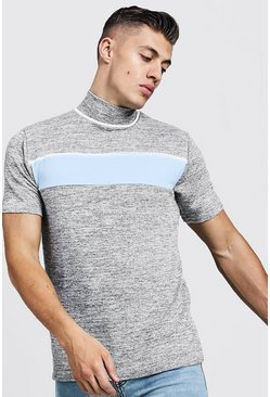 Mens Grey Knitted Turtle Neck Colour Block T-Shirt