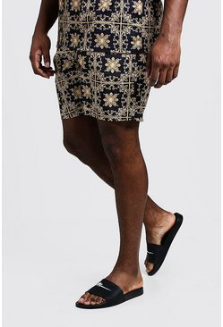 Big & Tall Short de bain imprimé mosaïque baroque, Or, Homme