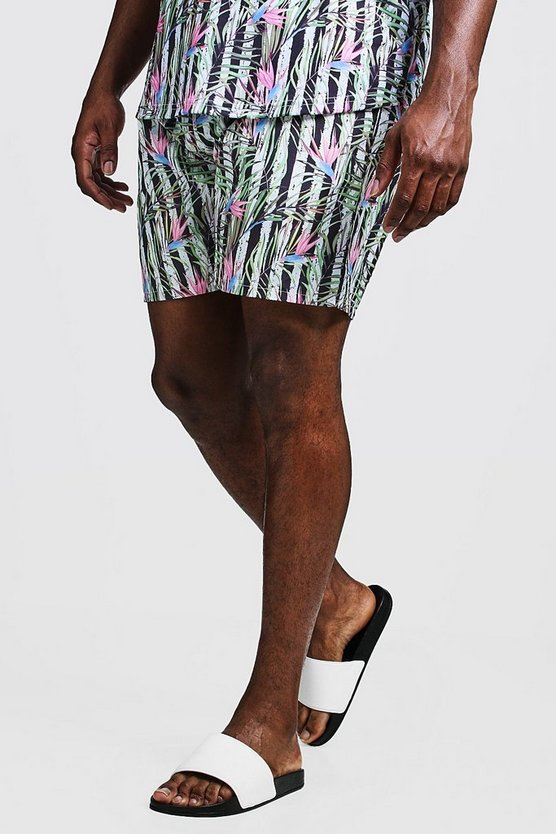 Big & Tall Stripe & Floral Print Swim Shorts