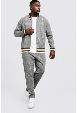 Mens Mustard Big & Tall Houndstooth Check Smart Tracksuit