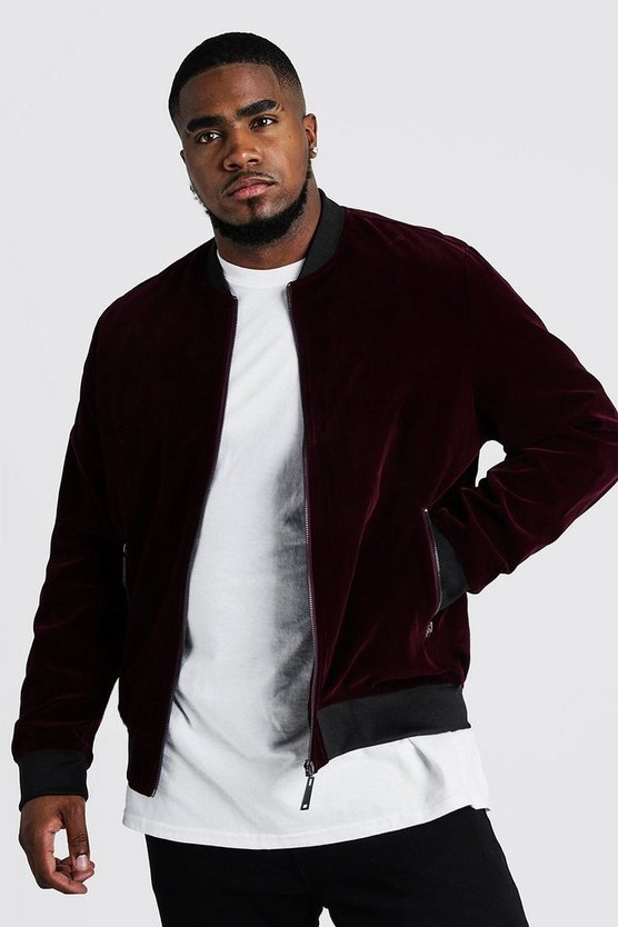 Mens Oxblood Big & Tall Velour Bomber Jacket