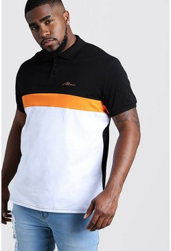 Big & Tall Polo Tall MAN colorblock côtelé à manches, Noir, Homme