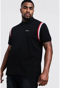 Mens Black Big & Tall MAN Jersey Polo With Shoulder Tape