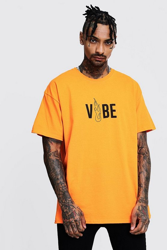 Vibe Front Print Oversized Neon Tee