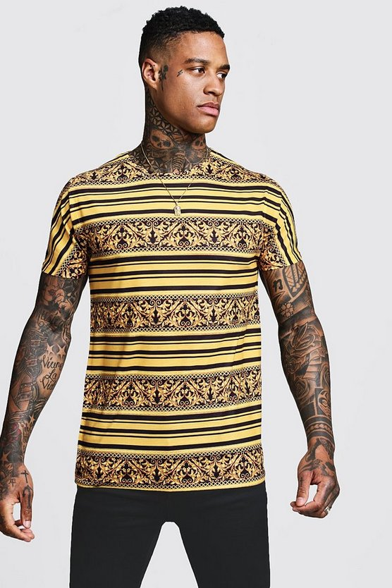 Mens Gold Gold Stripe Baroque T-Shirt
