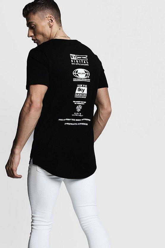 Mens Black Longline Streetwear Front and Back Print T-Shirt