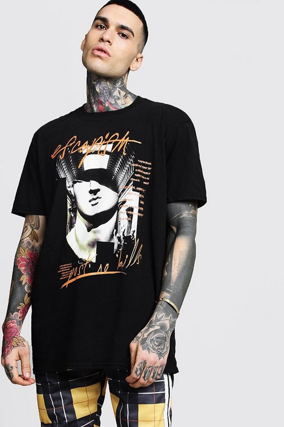 Mens Black Oversized Graphic Print T-Shirt