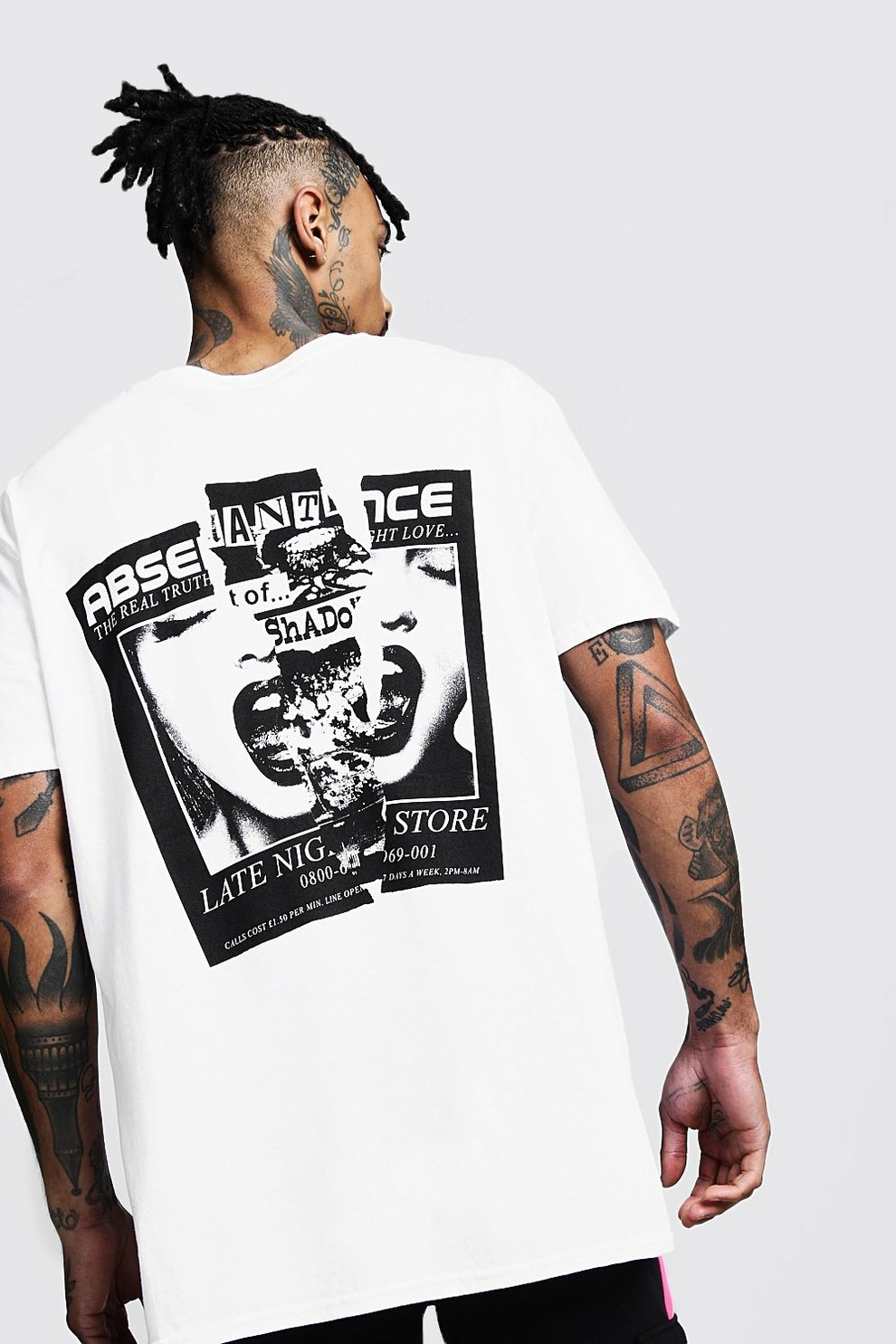 b199ac37 Mens White Oversized Back Print Graphic Tee. Hover to zoom