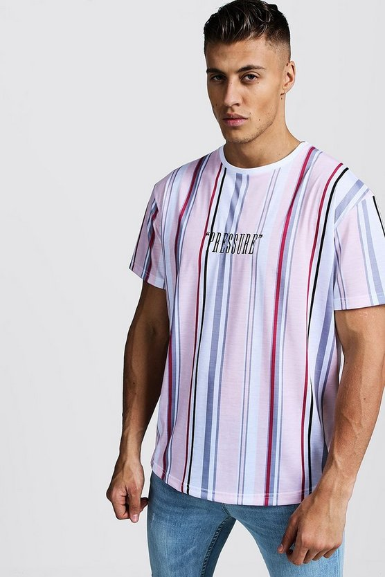 Mens Pink Stripe Loose Fit T-Shirt With Curved Hem & Embroidery