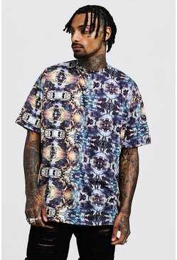 Mens Navy Oversized Kaleidoscope Print T-Shirt