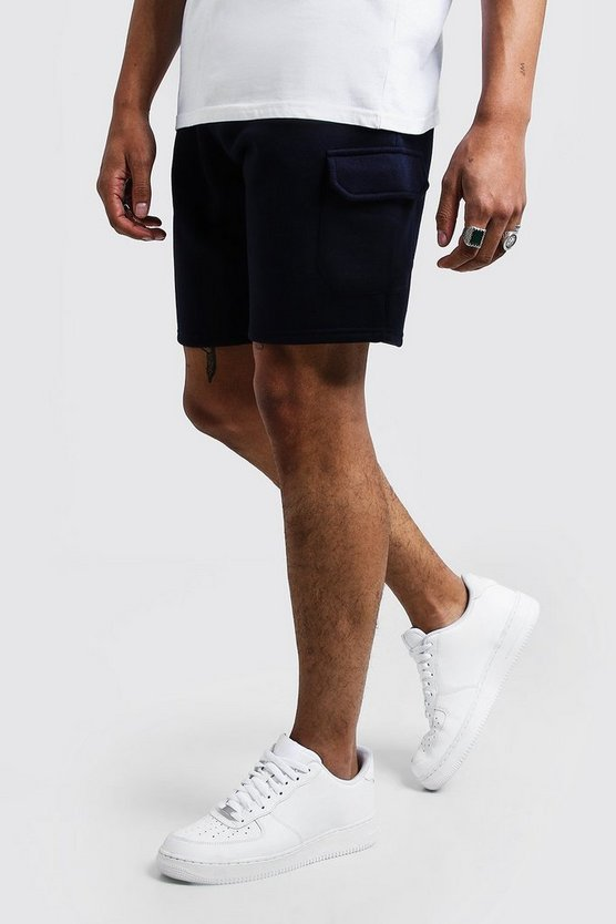 Mens Navy Mid Length Cargo Jersey Shorts