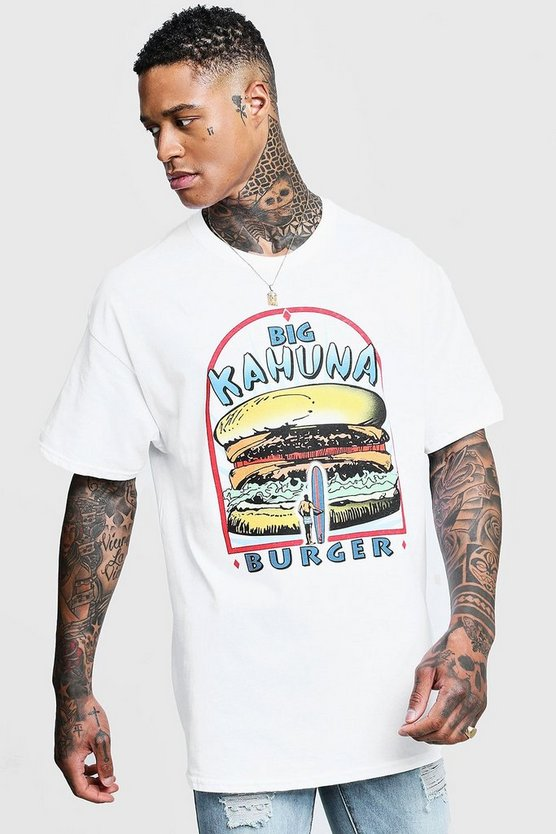 Mens White Big Kahuna Pulp Fiction License Oversized T-Shirt