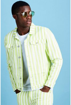Mens Neon-lime Striped Denim Jacket