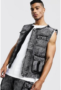 Mens Washed black Sleeveless Denim Utility Vest