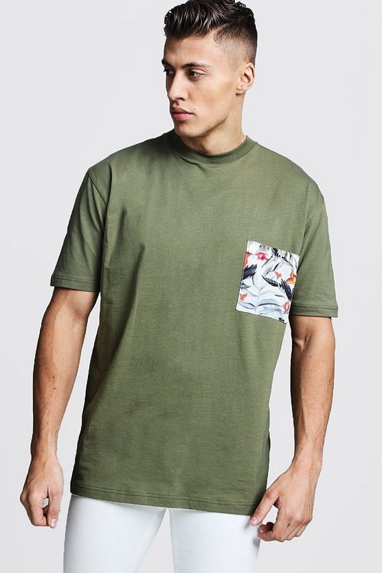 Loose Fit Crew Neck T-Shirt With Pocket Print