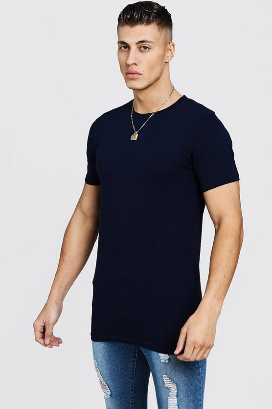 Navy Longline Muscle Fit T-Shirt