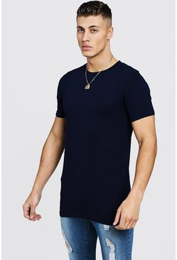 Muscle Fit - T-shirt ultra long, Marine, Homme
