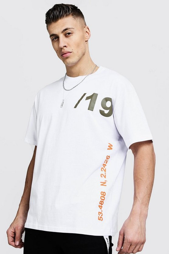 Mens White Official MAN Season Print Oversized Tee
