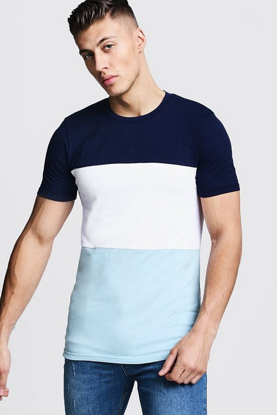 Muscle Fit Colour Block Jersey T-Shirt