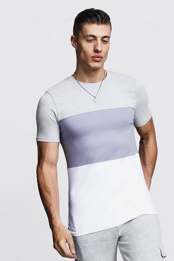 Grey Muscle Fit Colour Block Jersey T-Shirt