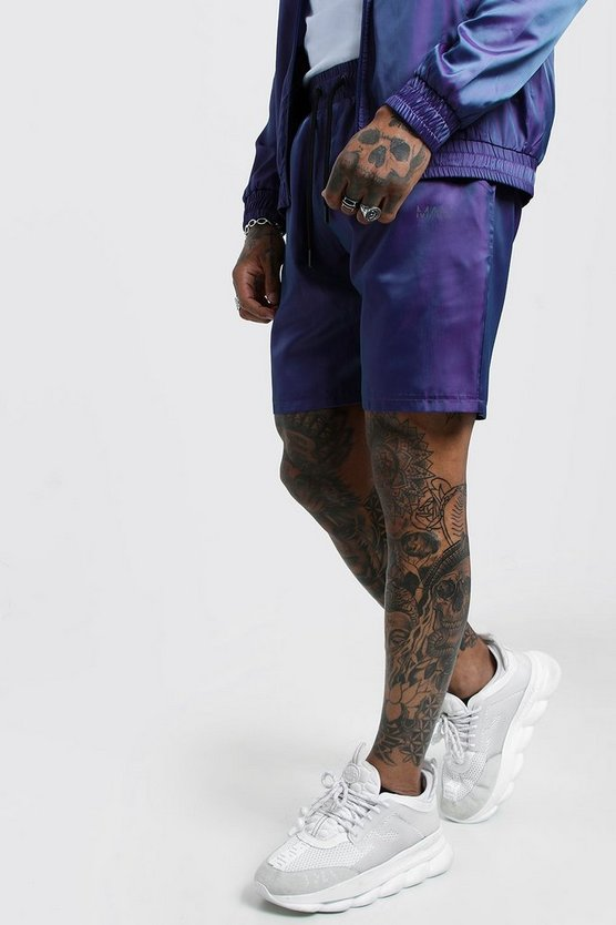 Iridescent Short With Reflective MAN Print