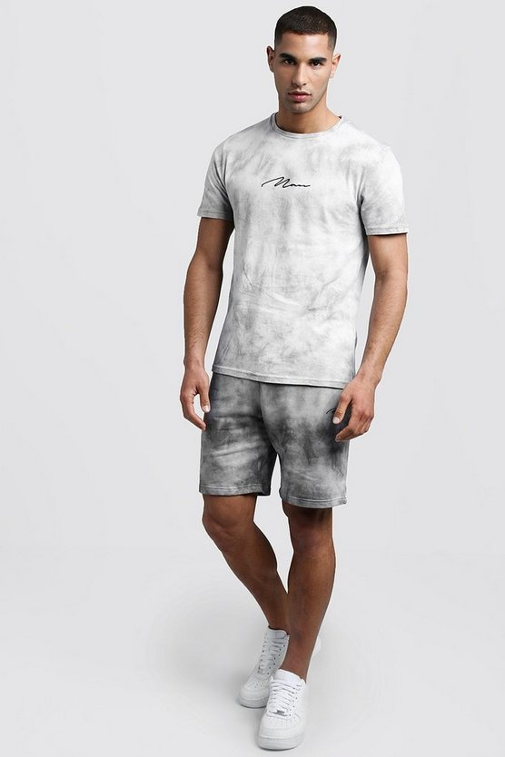 Mens Black Tie Dye MAN Signature T-Shirt & Short Set