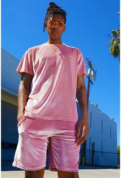 T-shirt velours MAN Signature Ensemble short assorti, Rose, Homme