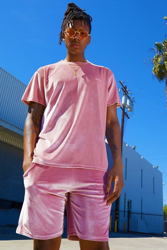 Mens Pink Velour MAN Signature T-Shirt & Short Set