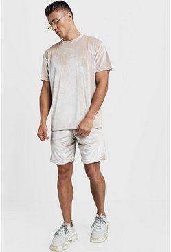 Mens Stone Velour MAN Signature Loose Fit T-Shirt & Short Set