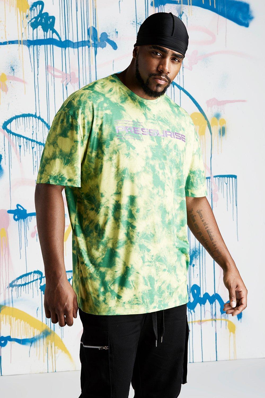 98cc9a0e5b2 Big   Tall Quavo Slogan Tie Dye T-Shirt - boohooMAN