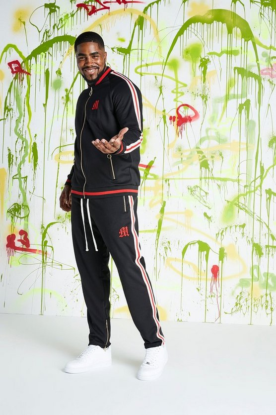 Mens Black Big & Tall Quavo Bomber Sports Rib Tracksuit