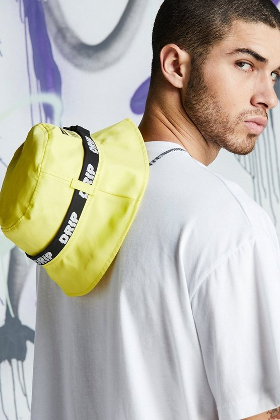 Mens Neon-yellow Quavo Drip Tape Bucket Hat