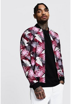 Mens Red Crane Print Bomber Jacket