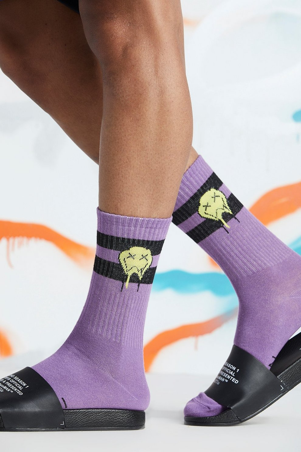 1aa596adcd Mens Purple Quavo Drip Face Socks