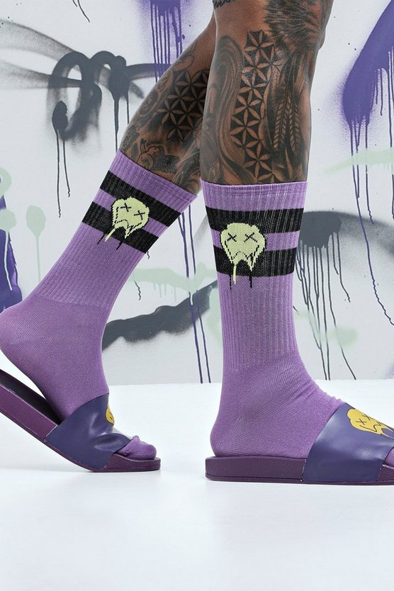 Multi Quavo Purple & Black 2 Pack Socks