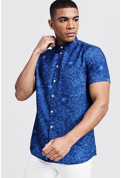 Mens Cobalt Outline Floral Print Short Sleeve Shirt