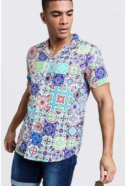 Ecru Tile Print Short Sleeve Revere Shirt