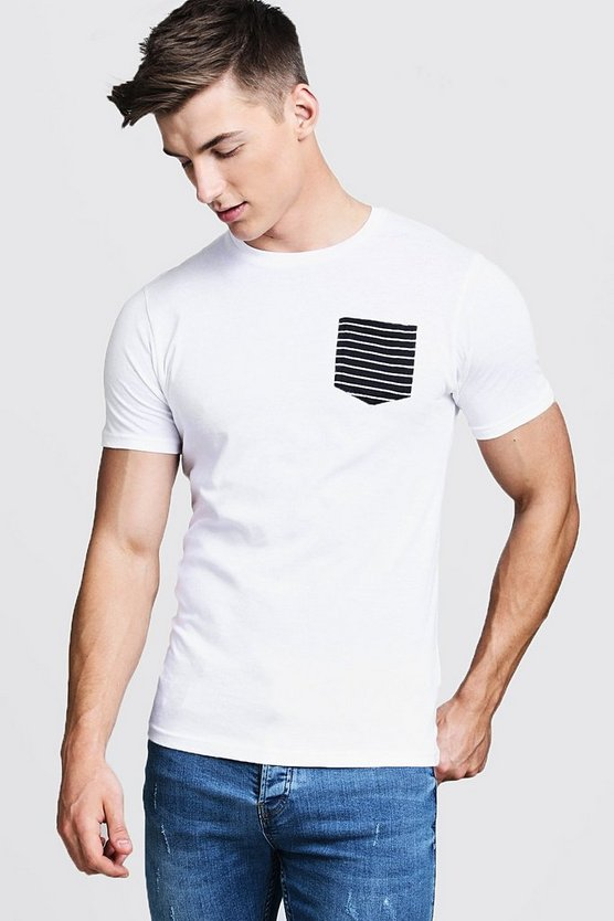 Crew Neck T-Shirt With Stripe Pocket