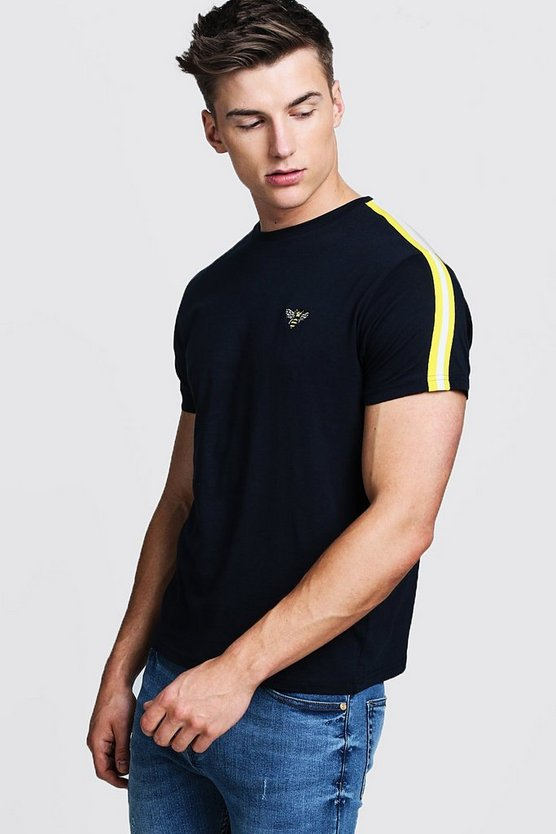 Bee Chest Embroidered T-Shirt With Side Stripes