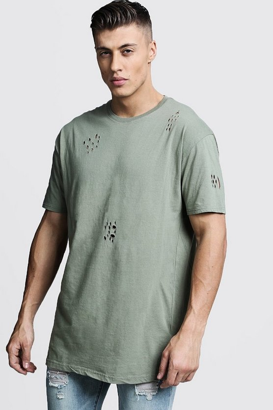 Green Distressed Longline T-Shirt
