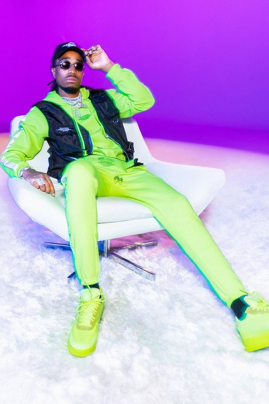 Mens Lime Quavo Hooded Tracksuit With Side Tape
