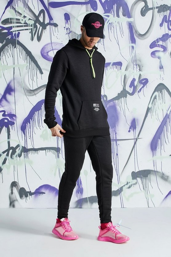 Mens Black Quavo Skinny Fit MAN Official Hooded Tracksuit