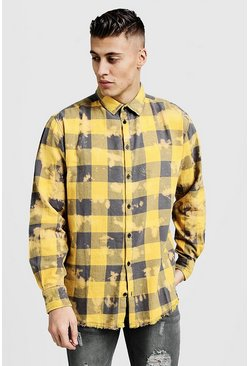 Mens Yellow Oversized Dip Dye Check Shirt
