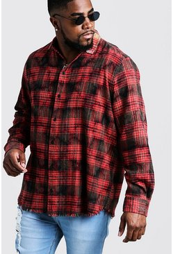 Mens Red Big & Tall Dip Dye Check Shirt