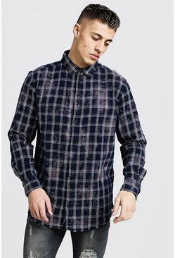 Mens Navy Bleached Loose Fit Check Shirt