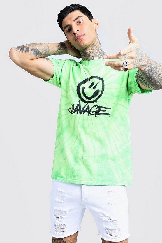 Savage Face Print Tie Dye T-Shirt