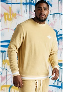 Mens Gold Big & Tall Quavo Velour Sweater With Rib