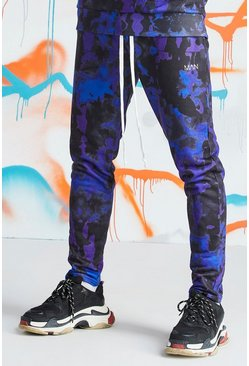 Mens Blue Quavo Tie Dye Skinny Jogger With Print
