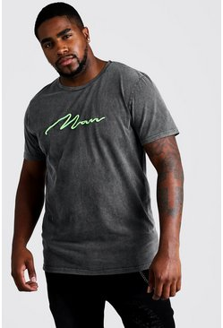 Big & Tall Loose-Fit MAN-T-Shirt in Quavo-Design mit Acid-Wash-Look, Grau, Herren